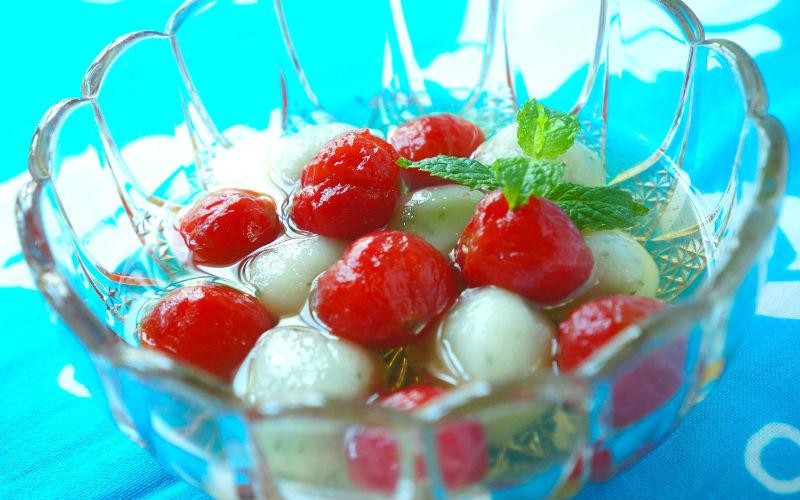 トマトとミント白玉